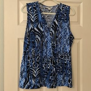 Dana Buchman Blue Animal Print Top XL
